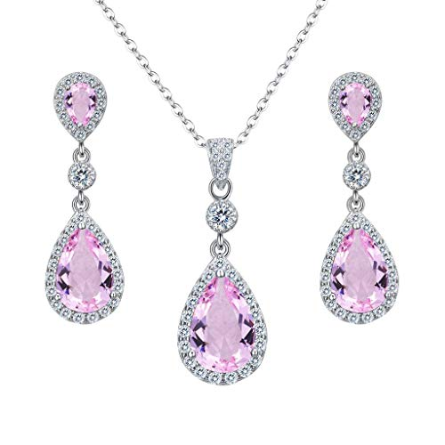 Clearine Women's 925 Sterling Silver Wedding Bridal Cubic Zirconia Infinity Teardrop Pendant Necklace Dangle Earrings Set Pink Tourmaline Color