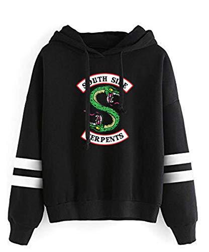YMIAO Donna Uomo Abbigliamento Sportive Southside Serpents Bambini e Ragazzi Ragazze Stampata Comoda Tinta Unita Riverdale Felpa con Cappuccio(S)