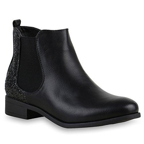 stiefelparadies Klassische Damen Stiefeletten Chelsea Boot Look Leder-Optik Schuhe Glitzer Ankle Booties 123679 Schwarz Glitzer Brito 37 Flandell