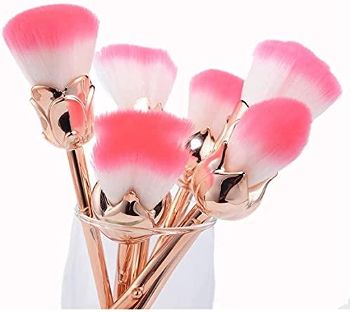 Juego De Brochas De Maquillaje De Rosas Florecientes De 6 Piezas,Brochas De Maquillaje Profesionales,Brochas De Maquillaje De Rosas, Juego De Brochas De Maquillaje Con Forma De Flores Rosas (dorado)