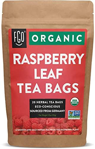 Organic Red Raspberry Leaf Tea Bags   20 Tea Bags   Eco-Conscious Tea Bags in Kraft Bag   Raw from Germany   by FGO