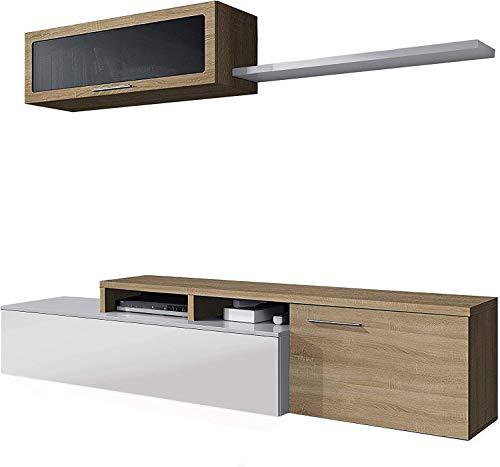 Mobelcenter – Mueble de Salón Comedor Moderno Nexus – Módulo TV, Módulo Superior y Estante – Acabado Color Roble Canadian y Blanco Brillo – Medidas: Ancho: 200 cm x Fondo: 41 cm x Alto: 44 cm - (0896)
