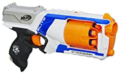 FIRE 6 DARTS IN A ROW: Fire 6 darts in a row from this quick draw, fast firing Nerf N Strike Elite Strongarm toy blaster that shoots darts up to 90 feet (27 meters) and includes 6 Nerf Elite darts FLIP OPEN ROTATING 6 DART BARREL: The Strongarm Nerf ...