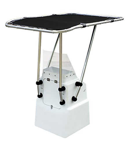 Oceansouth Heavy Duty Boat T Top Black, Clamp on for Standard Center Console, Aluminum Tube