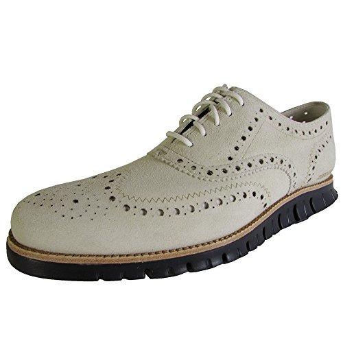 Cole Haan Men ZeroGrand Wingtip Casual Oxford Shoe, Moonbeam/Navy Ink, US 9.5