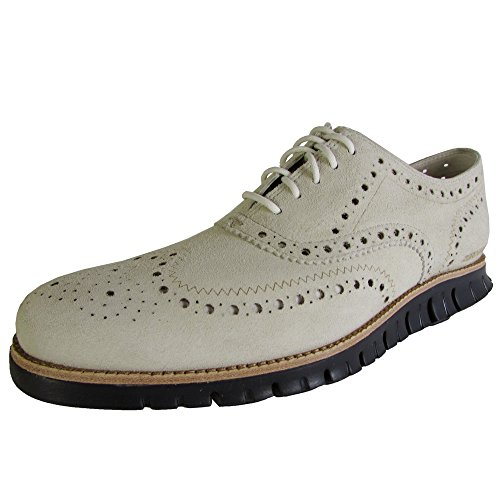 Cole Haan Men ZeroGrand Wingtip Casual Oxford Shoe, Moonbeam/Navy Ink, US 9.5