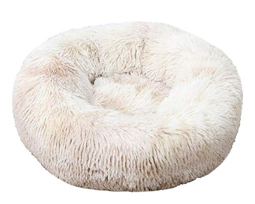 Milopon Dog Bed Round Plush Cat Bed Pet Bed for Cats and Dogs Donut Soft Washable Cat Sofa Outer Diameter 40 cm / 50 cm / 60 cm / 70 cm / 80 cm Optional