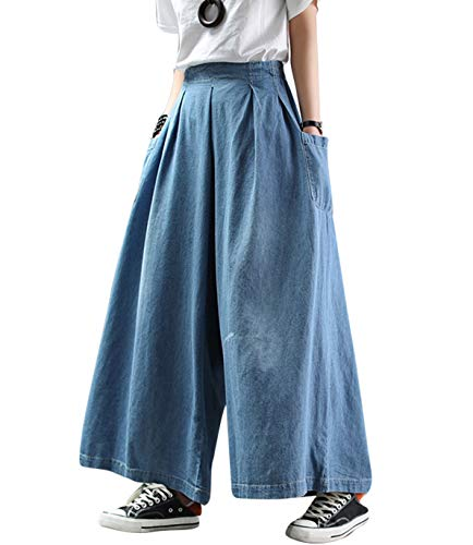 Womens Casual Loose Cropped Jeans Wide Leg Denim Pants Skirts Vintage Pants Harem Trousers Elastic Waist with Pockets (ST1 Light Blue, Large)