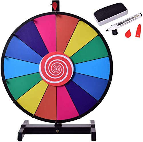Knoijijuo 18 Inch Wheel of Fortune, Prize Wheel, Wheel Lottery with 14 Slots, Erasable Pen, 2 Pointers Red, Broad And Thickened Base for Colored Activities