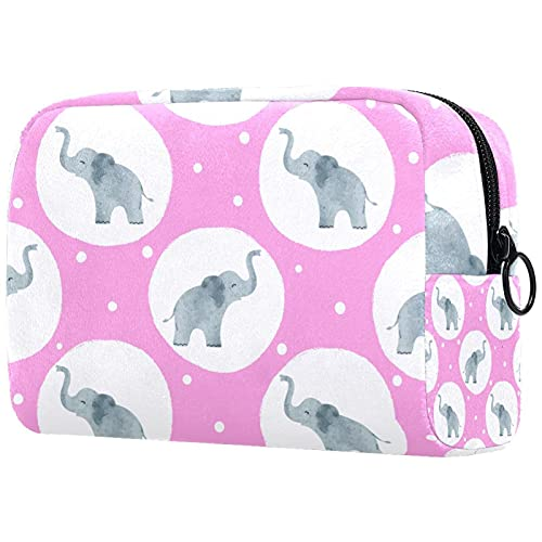 Neceser Maquillaje Lindo, Elefante bebé Bolso de Cosméticos de Viaje Portátil Bolsas de Maquillaje impresión Organizador de Cosméticos para Mujeres Niñas 18.5x7.5x13cm