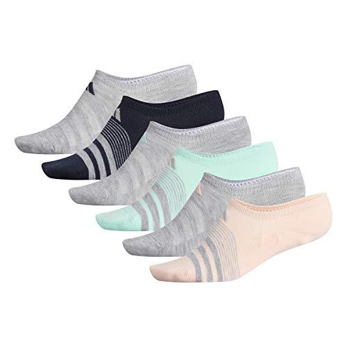 adidas Women's Superlite Super No Show Socks (6-Pair), Clear Orange/Light Heather Grey/Clear Mint/Legend, Medium, (Shoe Size 5-10)