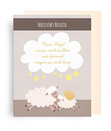 1x Trauerkarte für Kinder (Baby, Sternenkind, Fehlgeburt) + Umschlag (Motiv: Engel/Sterne/Schafe)