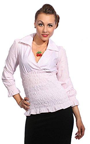 SugarShock 50s Puffärmel Polka DOTS Rockabilly pin up Punkte Stretch Hemd Bluse