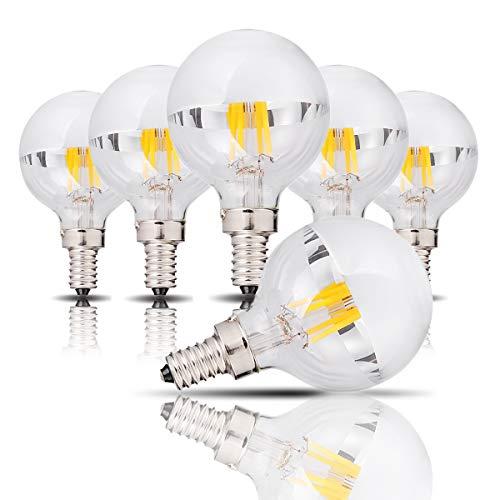 4 Watt Halbchrom-LED-Birne, G45 / G14 Silberne Schüssel LED-Glühlampe mit vertikalem Glühlampe und Spiegel E14 Candelabra-Sockelleuchte 40 Watt Gleich warmweiß 2700K UL-gelistet Nicht dimmbar 6 Pack