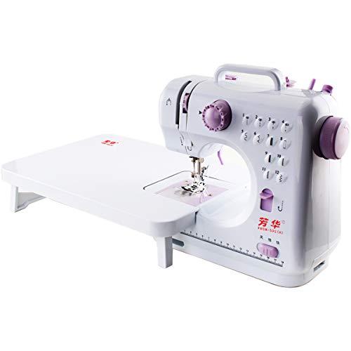 Máquinas de coser con mesa extensible, adaptador europeo con enchufe británico, mini máquinas de coser para niños principiantes, patrones de 12 puntadas
