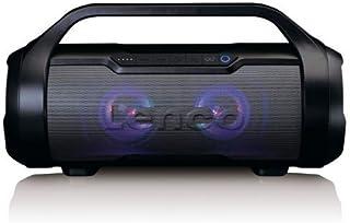 Lenco SPR 070 Boombox   IPX5 Wasserdichte Bluetooth Boombox   integrierter 3000mAh Akku   2 x 12 Watt RMS   FM Radio Empfänger – Lichteffekte   Kabeloses Musikstreaming   Schwarz