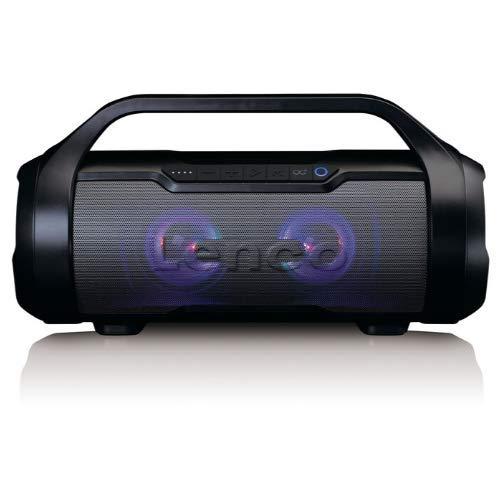 Lenco SPR-070 Boombox - IPX5 Wasserdichte Bluetooth Boombox - integrierter 3000mAh Akku - 2 x 12 Watt RMS - FM Radio Empfänger – Lichteffekte - Kabeloses Musikstreaming - Schwarz