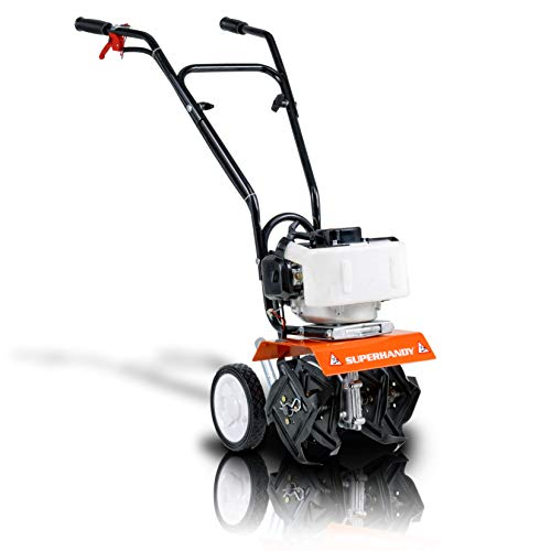 SuperHandy Mini Tiller Cultivator Super Duty 3HP 50cc 2 Stroke Gas Motor 4 Premium Steel Adjustable Forward Rotating Tines for Garden & Lawn, Digging, Weed Removal & Soil Cultivation EPA/CARB