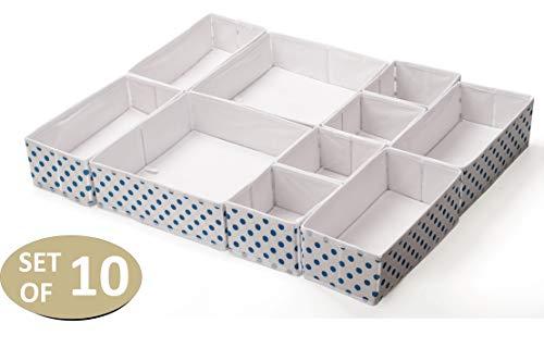 10er Set Aufbewahrungsbox für Schubladen Organizer Vlies Stoff Kleiderschrank Ordnungssystem Wickelkommode Ordnungsbox Trennsystem Korb Wickeltisch Box Baby Bad Wäsche BH Klein Gepunktet Weiss Blau