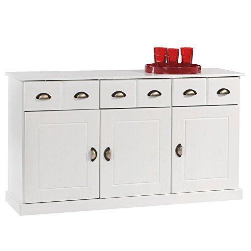 IDIMEX Buffet Paris Commode bahut vaisselier avec 3 Portes battantes et 3 tiroirs pin Massif lasuré Blanc