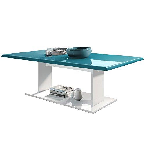 Vladon Couchtisch Beistelltisch Wohnzimmertisch Mono in Weiß mit Tischplatte in Petrol Hochglanz