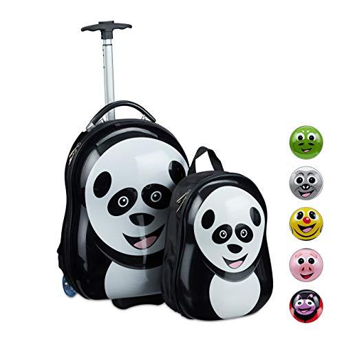 Relaxdays Kinderkoffer mit Rucksack, Panda, Mädchen & Jungen, Hartschale Reiseset Kinder, HBT 46 x 30 x 25 cm, schwarz