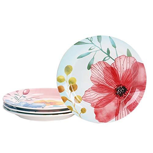 Bico Flower Carnival Ceramic Salad Plates, 8.75 inch, Set of 4, for Salad, Appetizer, Microwave & Dishwasher Safe