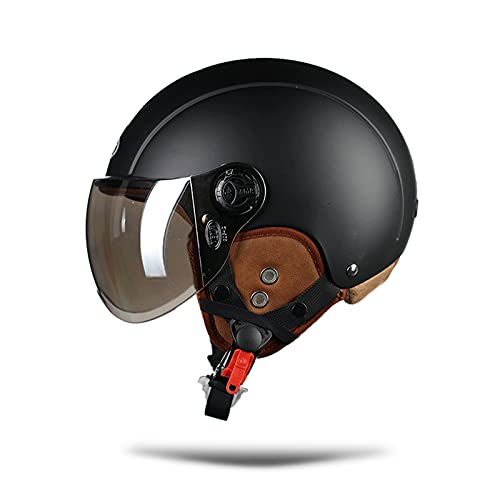 LIONCIANO Cascos De Motocicleta para Hombres y Mujeres, Cascos De Ciclomotor con Visera Reflectante, Que Protege La Seguridad Vial De Los Usuarios(Negro Mate, Lente Plateada)