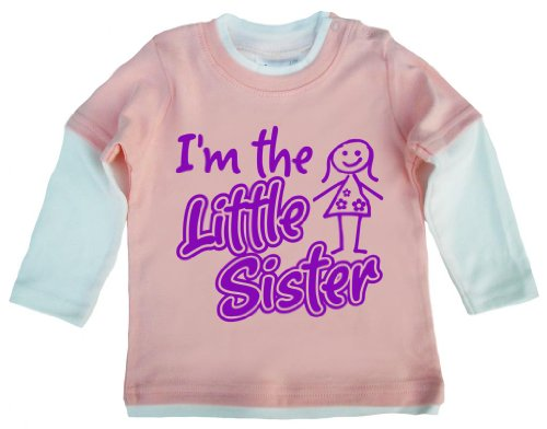 Dirty Fingers, I'm The Little Sister, Baby Patineuse Top - Rose - XXXXS