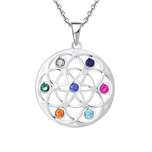 JO WISDOM Damen Halskette Samen des Lebens Silber 925,Kette Anhänger LebensSamen AAA Zirkonia (7 Chakra-Farbe)