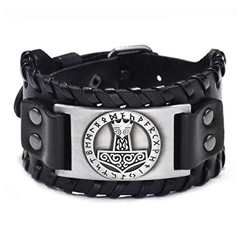 GelConnie Viking Bracelet Mjolnir Nordic Bracelet Punk Leather Cuff Bracelet Gothic Leather Wristband Amulet Scandinavian Talisman Celtic Pagan Jewelry