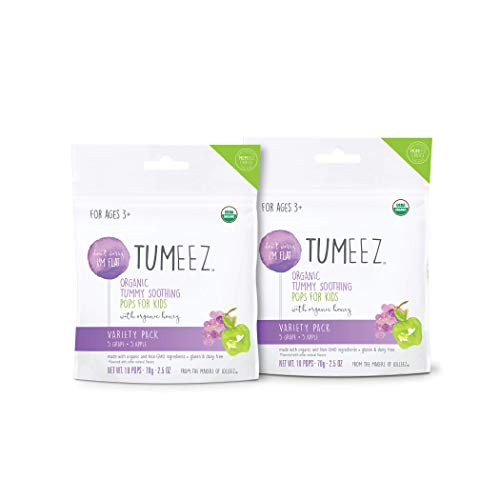 Lolleez Tumeez Organic Tummy Soothing Pops with Honey for Kids for Upset Stomachs/Car Sickness/Nausea, Grape and Apple, Variety Pack, 20 Count, (Pack of 2)
