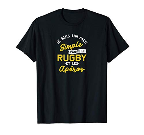 Homme Rugby et apéro - cadeau homme humour rugby T-Shirt