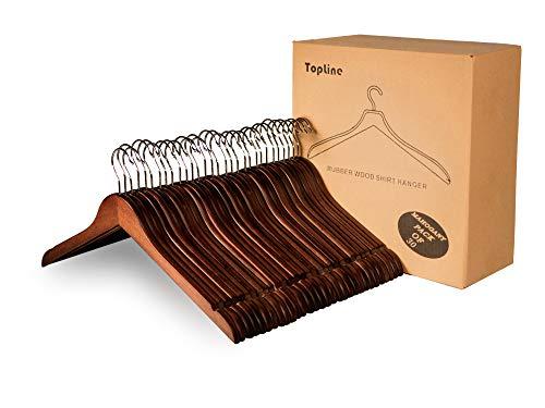 Topline Classic Wood Shirt Hangers - Mahogany Finish (30 Pack)