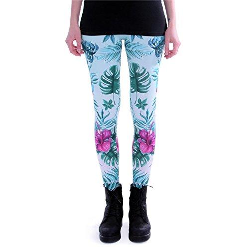 cosey Damen Bunte Bedruckte Leggings, Tropenpflanzen, Einheitsgröße