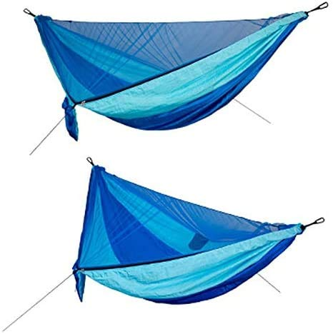 OH Hamocks Camping Hammock with Mosquito Net, Portable Nylon Double Hammock with Tree Straps Carabiner for Relieve Fatigue Strong and Sturdy