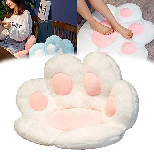 Cute Seat Cushion, Cat Paw Shaped Lazy Sofa, Bear's Paw Office Chair Pad, Plush Warm Skin-Friendly Floor Mat, Backrest Cushion for Adults and Kids (White, 70x60cm)