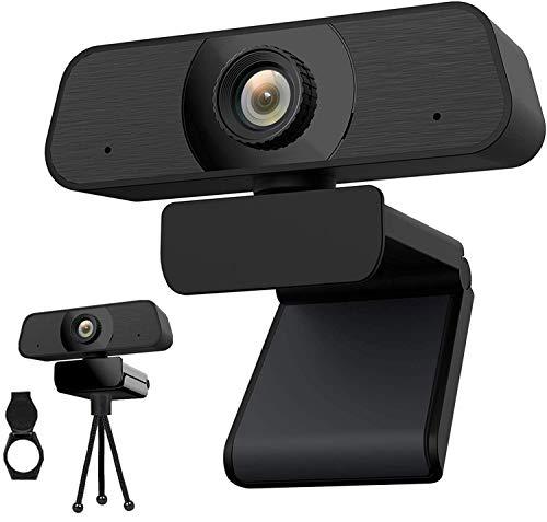 Webcam PC con Micrófono,Cámara Web 2K Full HD con Enfoque Manual,Cover y Trípode,USB Plug and Play,para Videollamadas,Estudiar en Línea,Conferencia