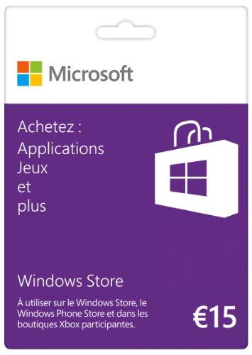 Carte Cadeau Windows Store 15 euros