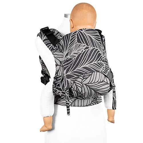 Fidella Fusion Tuchtrage Full Buckle I Bauchtrage & Rückentrage I Ergonomische Komforttrage mit Steckschnallsystem I 100% Bio-Baumwolle I Für Toddler bis 30 kg I Schwarz Weiß