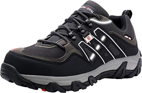LARNMERN Sicherheitsschuhe Arbeitsschuhe Herren, Sicherheit Stahlkappe Stahlsohle Anti-Perforations Luftdurchlässige Schuhe, Schwarz L1032, 49 EU