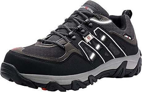 LARNMERN Zapatos de Seguridad para Hombre, Puntas de Acero Antideslizantes SRC Anti-Piercing Zapatos de Trabajo (49 EU Negro)