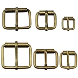 Hysagtek 60 hebillas de metal de bronce para cinturones, hebilla, para bolsas, correa de cuero, accesorios de bricolaje, 6 tamaños – 3,3 cm, 3,18 cm, 2,54 cm, 0,79 pulgadas, 1,7 cm, 1,51 cm