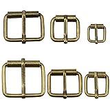 Hysagtek - 60 fibbie a rullo, in metallo bronzo, per borse, cintura in pelle, accessori fai da te, 6 misure - 1,3/1,18/1/0,79/0,67/0,51 pollici