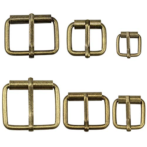 Hysagtek 60 bronze metal buckles for belts, buckle, for bags, leather strap, DIY accessories, 6 sizes - 3,3 cm, 3,18 cm, 2,54 cm, 0,79 inches, 1,7 cm, 1,51 cm
