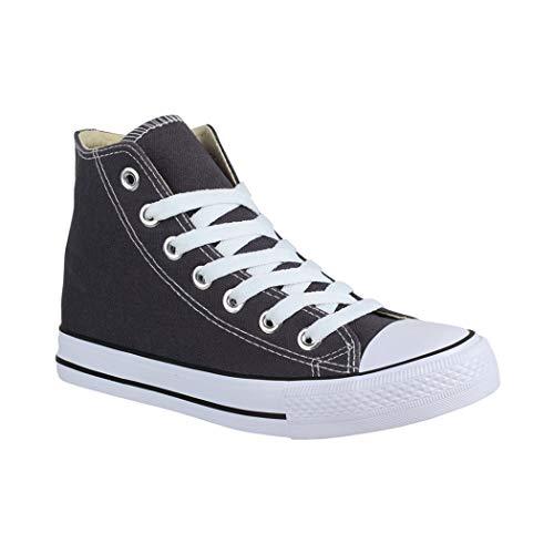 Elara Unisex Sneaker Bequeme Sportschuhe für Damen und Herren High Top Turnschuh Textil Schuhe 014-A DK.Grey 41