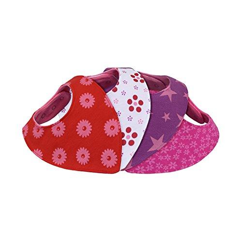 Dreieckstuch Halstuch Baby - saugstark doppellagig weich - Geschenk-Box - Sabberlätzchen Sabber-Tuch Spuck-Lätzchen Sabber-Latz Bandana Sabber-Tücher Mädchen - 6 nickelfreie Druckknöpfe - 4er Set