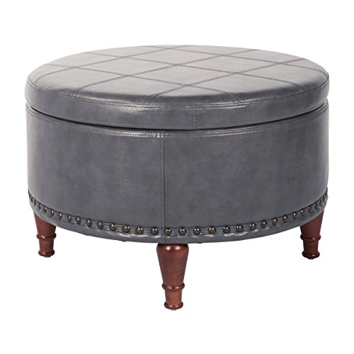 OSP Home Furnishings Alloway Storage Ottoman with Antique Bronze Nailheads, Pewter Faux Leather