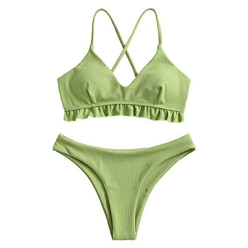 ZAFUL – Bikini con volantes y cruz, acolchado, 2 piezas, corte alto