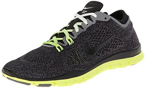 Nike Free 5.0 TR Fit 4 Print, Damen Fitnessschuhe, Grau (Medium Ash/Black-Ivory-Volt 200), 36 EU